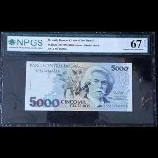 BRAZIL 1993 5000 CINCO MIL  CRUZEIROS  GRADED