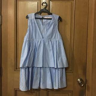 Zara pinstripe tiered dress
