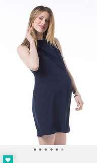 Woven sleeveless Claude high neck Navy dress