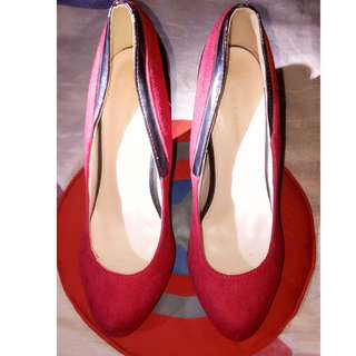 Red Sued high-heel shoes