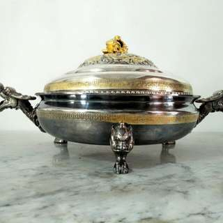 Wadah Antik Moif Kepala Naga, Kuningan Silver Coated