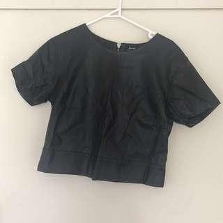 Bardot faux leather top