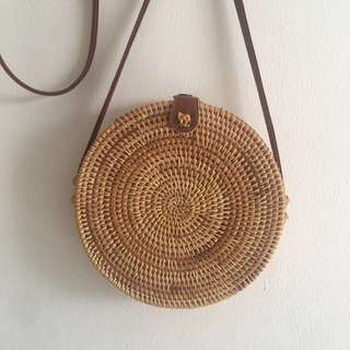 [Instocks w Free Delivery] Bali Exclusive Round Weave Handmade Rattan Bag with Leather Buckle and Lining for Beach