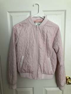Pink bomber jacket with heart stitching detail - Size M