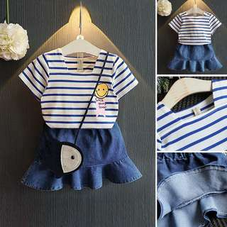 Instock - Korean Fashion Girl's Smiling Face T & Blue Jean Skirt - 1 Set Top & Skirt at $14.99 ONLY