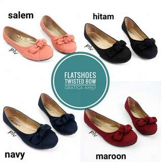 Flat Shoes Twisted Bow