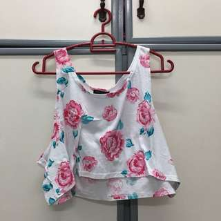 Topshop Floral Crop Top