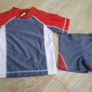 Preloved Baby rashguard rashguard length 35cm shorts 18cm