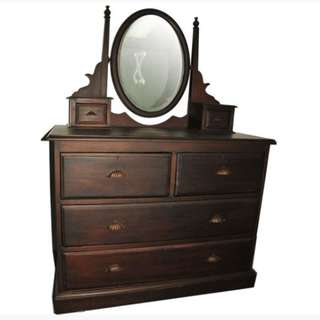 Antique Colonial Dressing Table In Teakwood