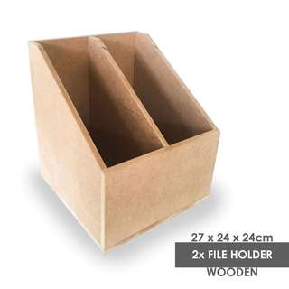 2x File Holder Wooden Box