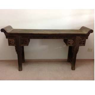 清代老鸡翅木翘头桌,独板。Ching Chicken Wing Wood Altar Table