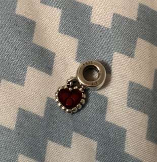 Preloved pandora red enamel heart charm