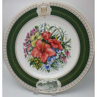 "1990 年 ROYAL BOTANIC GARDENS KEW ~ ""Kew Flora Pacifica"" 陶瓷碟"