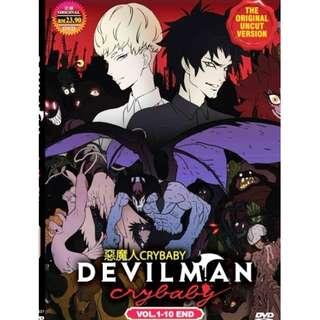 Devilman Crybaby Vol.1-10 End 恶魔人 Anime DVD (Uncut version & Eng Dub)