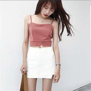 [PO] Korean Style Fitted Camisole Crop Top