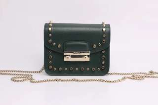 Furla Julia Studded Bag - dark green
