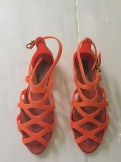 Melissa orange gladiator sandals