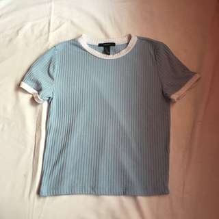 Forever 21 Pastel Blue Ribbed Crop Top