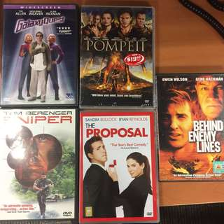 DVD Movies the proposal, Pompeii , galaxy quest, behind enemy lines , sniper