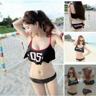 Online Sale: P330 only !!!  💋2 in 1 Swimsuit  💫Real swimsuit with padding  💫Spandex blend cotton, stretch  💫Letter print detail  💫Free size fits up to semi L 💫2 prints  💫Good quality