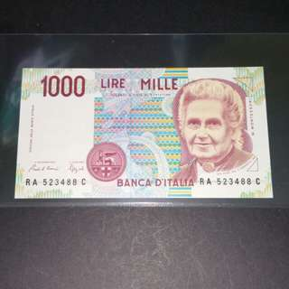 Italy 1,000 Lire Currency Banknote