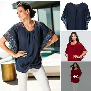 Online Sale: P320 only !!!  💋Plus Size Chiffon Blouse 💫Blend chiffon, soft comfy  💫Lace batwing sleeve 💫Free size, loose fits up to XL 💫2 colors 💫Good quality