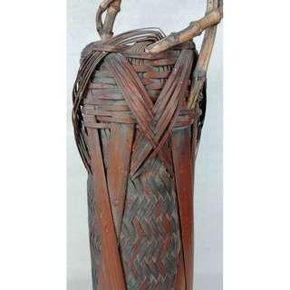 日本老物竹編花籃花器花入竹製品茶道雅器花道用品擺件