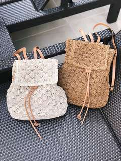 Rattan Straw Woven Backpack