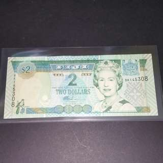 2007-2011 Fiji $2 QEll Currency Banknote