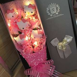 Hello Kitty Flower Bouquet with Fairy Lights In Gift Box (5 HK & 5 Pink Roses)