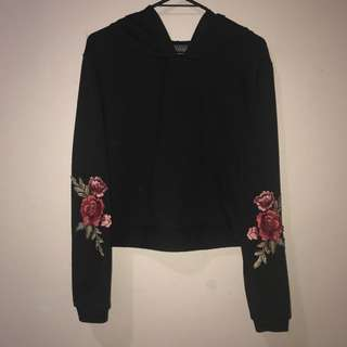 MIRROU cropped rose embroidered hoodie