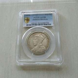 Southern Rhodesia 1934 Half Crown PCGS AU58 Silver Coin