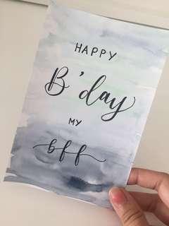 Watercolour Calligraphy Birthday Card