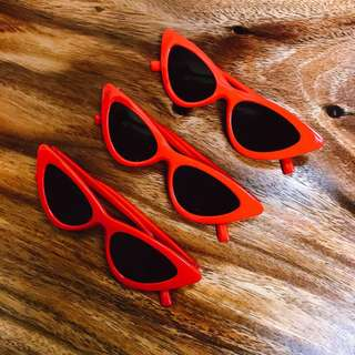 red retro cat eye shades