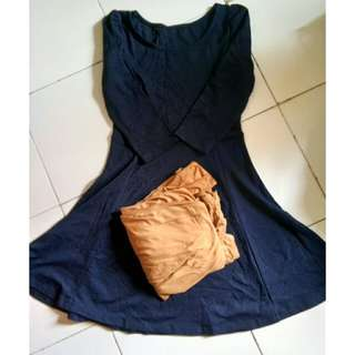Midi dress navy and choco