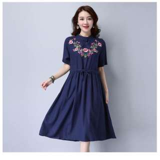 Embroidered Floral Chinese Collar Dress