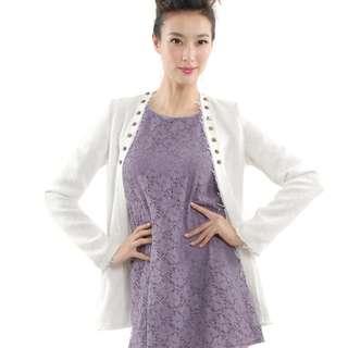 Brand New - HVV HerVelvetVase Camille Tweed Jacket in White (Size S)