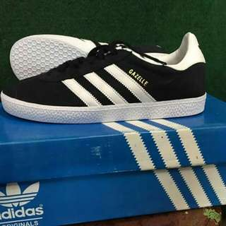 adidas gazelle suede black white 100% original