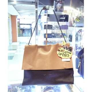 Celine Brown / Black 2 Tone Leather Shoulder Hand Bag 塞利 啡色 / 黑色 拼色 牛皮 皮革 手挽袋 手袋 肩袋 袋