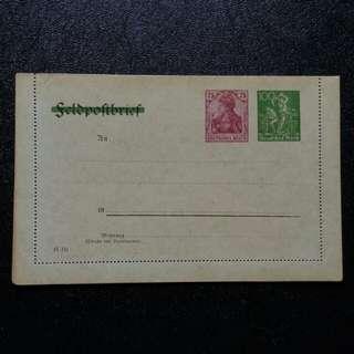 [lapyip1230] 德意志帝國軍用郵資信卡改為民用 1920年
