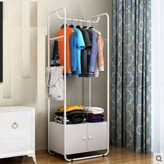 Clothes Hanger with Cabinet (White)