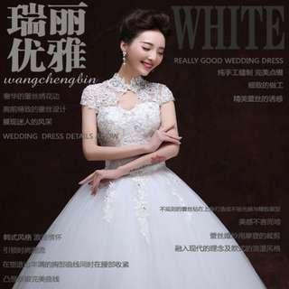 [PRICE REDUCED]High Neck Lace Up Wedding Dress Shoulder Lace Bridal Wrap Wedding Dress