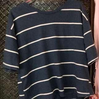 🚚 藍白條紋五分袖寬鬆T恤