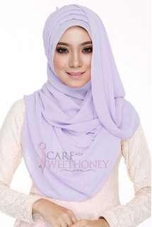 Shawl Labuh ATHIFA Pleated Chiffon Soft Purple