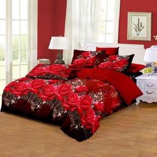BED COVER + SPREI 120X200CM - TULIP MERAH