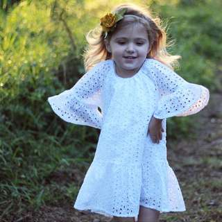 ✔️STOCK - VINTAGE GARDEN WHITE FLUTTER SHORT SLEEVES CASUAL FLARE BABY GIRL DRESS ROMPER KIDS CHILDREN CLOTHING