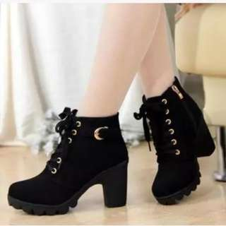 #KASUT   Fashion Thick Heels Women  Ankle Martin Boots Shoes