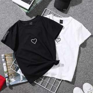 +PO+ ♡ heart basic tee, couple tee