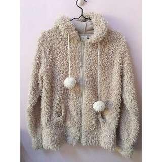 日本購入帶回日本品牌專櫃冬天厚棉長毛絨毛茸茸感居家睡衣連帽球球外套淺駝色熊熊立體造型耳朵帽子類似Gelato pique