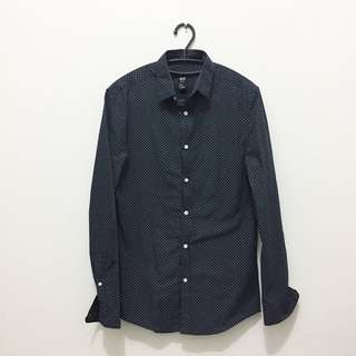 H&M polkadot navy man shirt